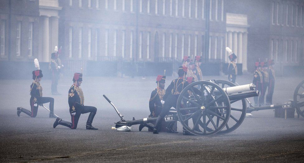 The Death Gun Salute is fired by The Kings Troop Royal Horse Artillery to mark the passing of Britain's Prince Philip, Duke of Edinburgh, at the Parade Ground, Woolwich Barracks in London. 10 April 2021