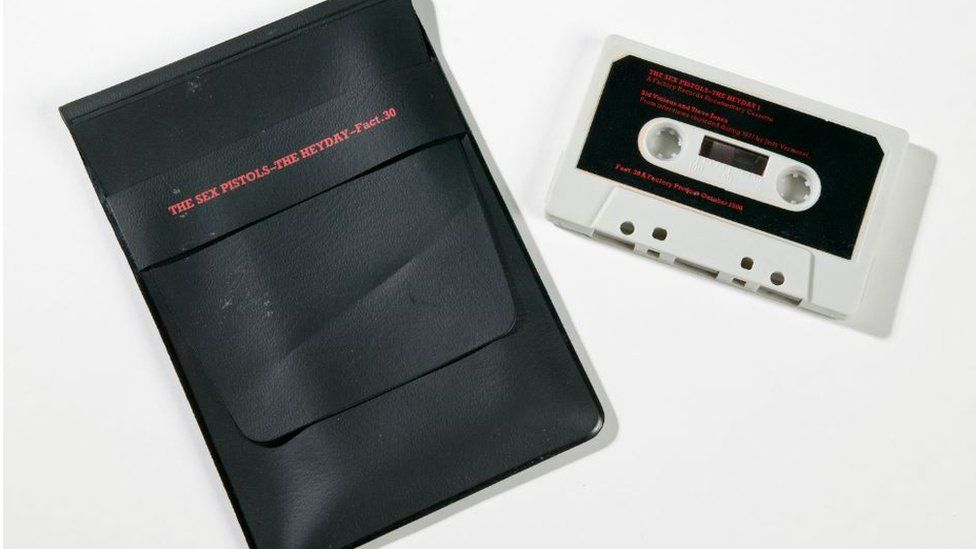 Audio cassette tape of Sex Pistols 'The Heyday' (Fact 30), produced by Factory Records