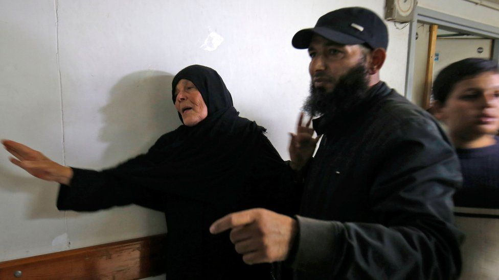 Hamas commander Nur Barakeh's mother at hospital morgue