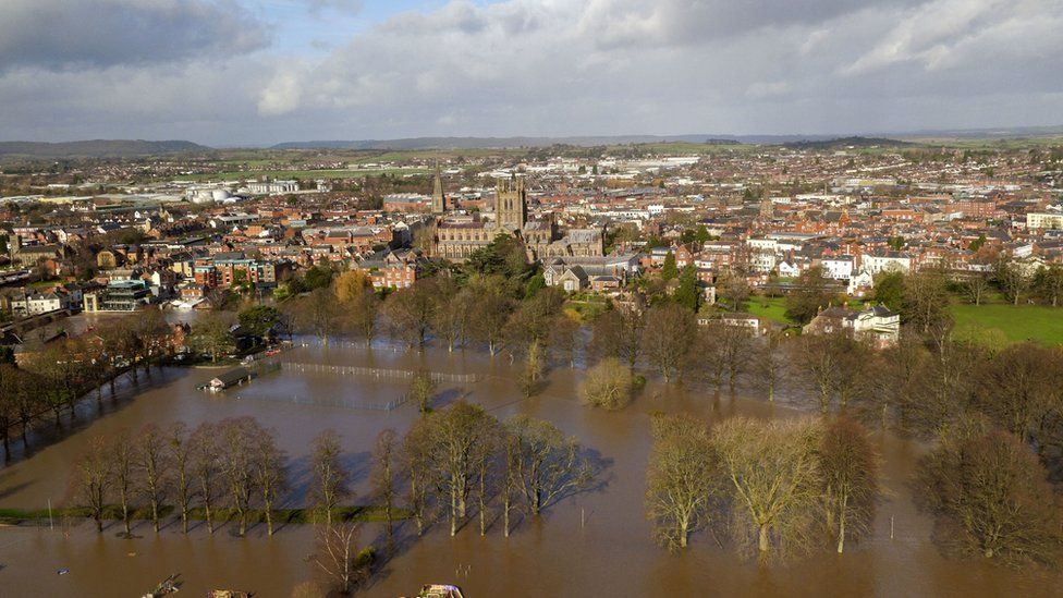 Flooded fields in Hereford, in the aftermath of Storm Dennis