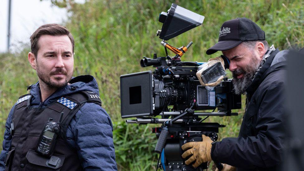 Martin Compston on the Line of Duty set