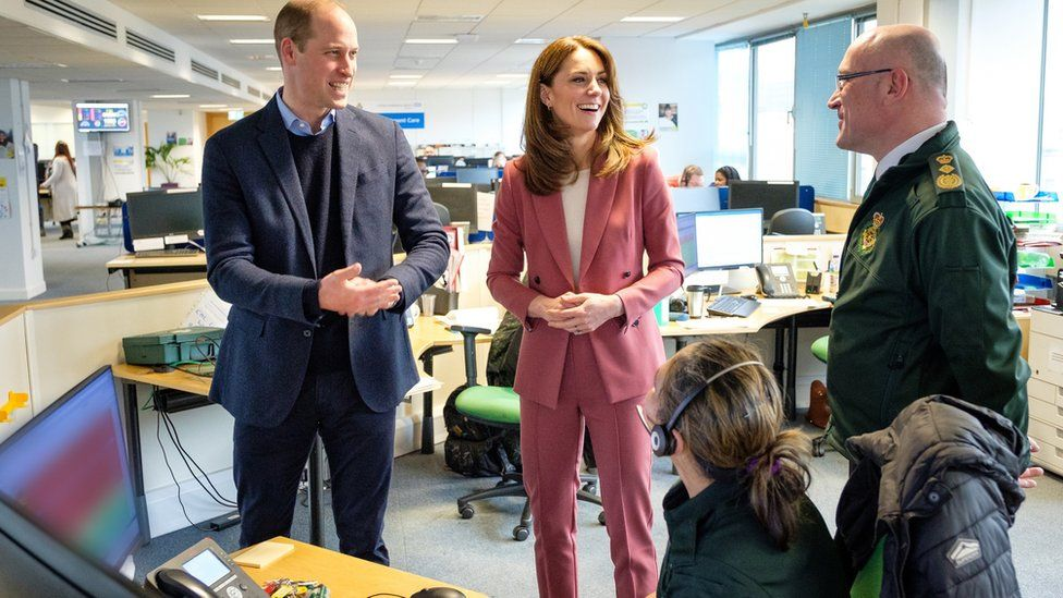 The Duke and Duchess of Cambridge talking with staff during a visit to the London Ambulance Service 111 control room in Croydon, south London