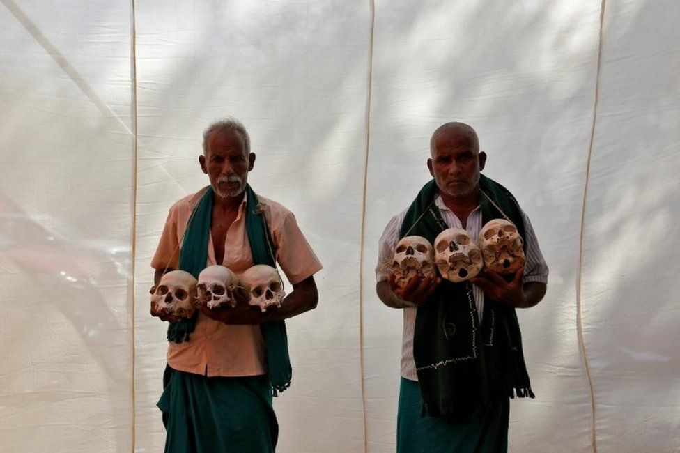 Farmers from the southern state of Tamil Nadu display skulls, who they claim are the remains of Tamil farmers who have committed suicide, during a protest demanding a drought-relief package from the federal government, in New Delhi, India, March 22, 2017.