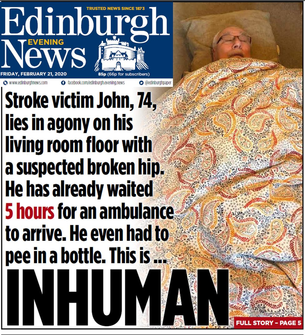 Evening news front page