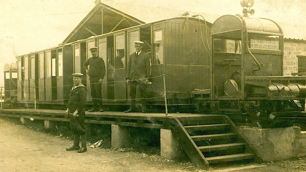 Staff on Hythe Pier Railway