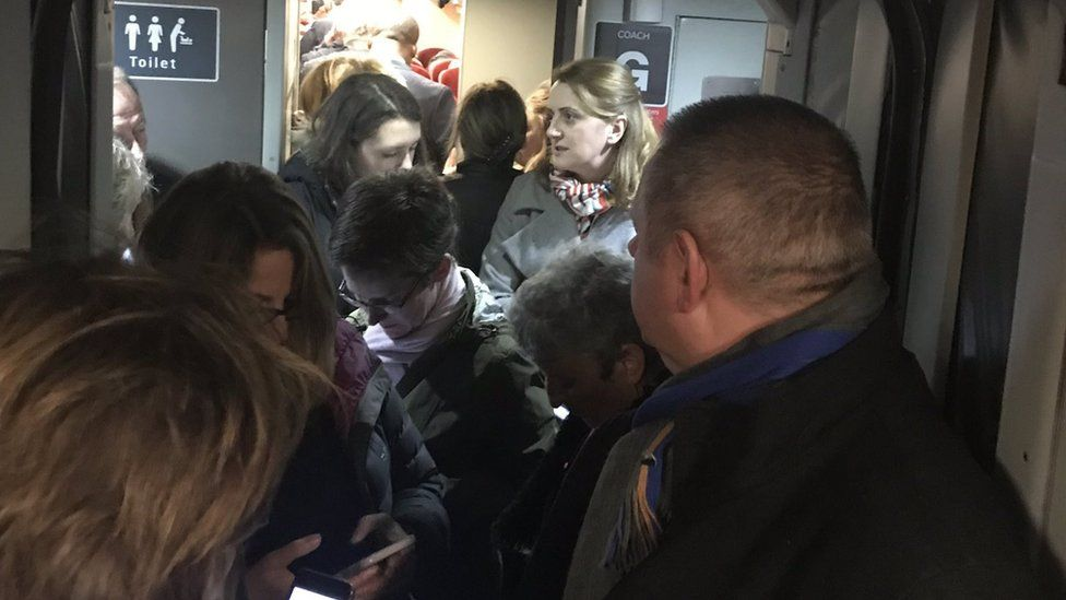 Crowded train in Peterborough