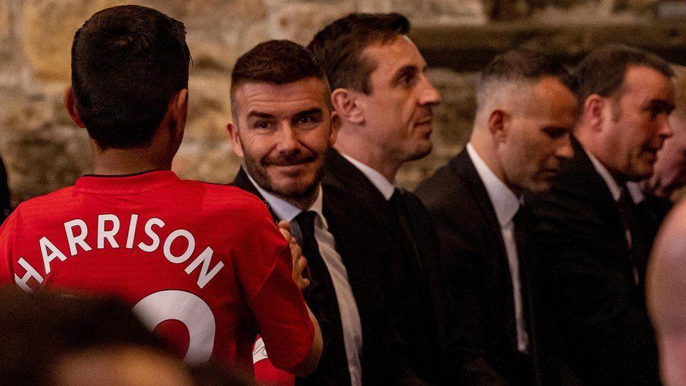 David Beckham, Gary Neville, Ryan Giggs and Ben Thornley at Eric Harrison's funeral