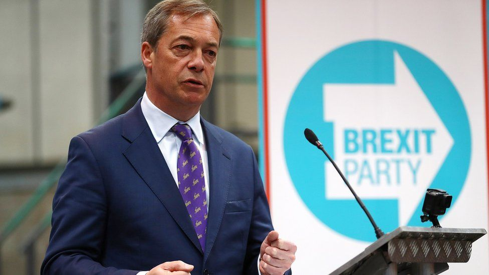 Nigel Farage speaks at the launch of the Brexit Party's European Elections campaign in Coventry