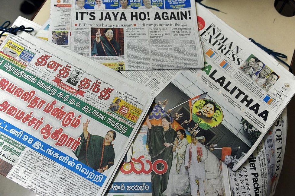 ndian newspapers show the election result victory for Jayalalithaa Jayaram, leader of the All India Anna Dravida Munnetra Kazhagam (AIADMK), in Chennai on May 20, 2016. T