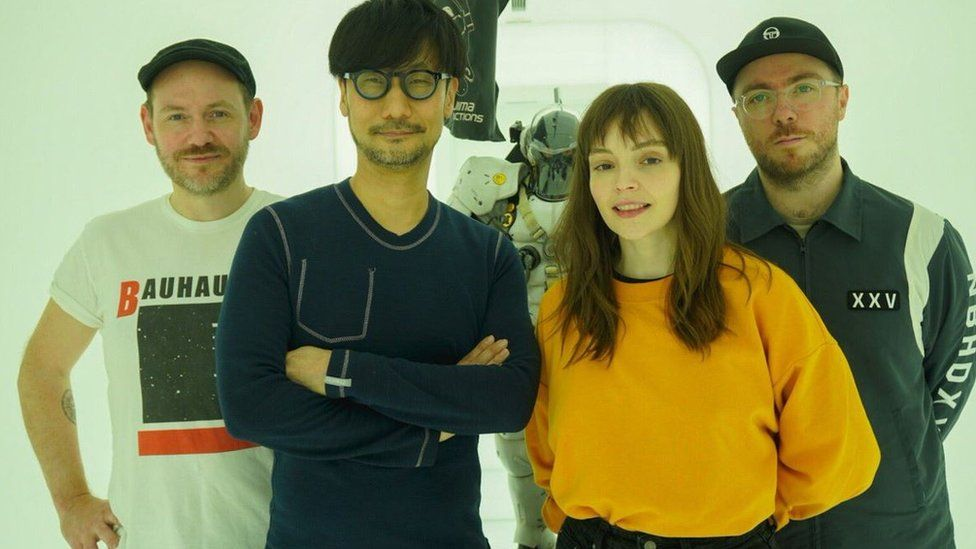 Chvrches with Hideo Kojima at his office in Tokyo