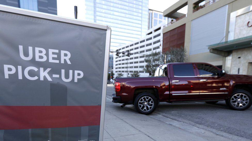 Uber pick-up spot in Houston, Texas (file photo January 2017)