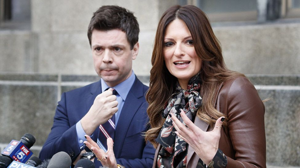 Attorneys Damon Cheronis (left) and Donna Rotunno talk to reporters following a bail hearing for their client
