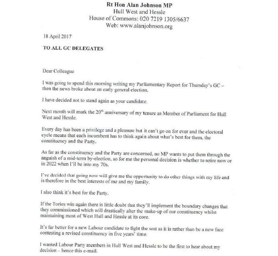 Alan Johnson's letter