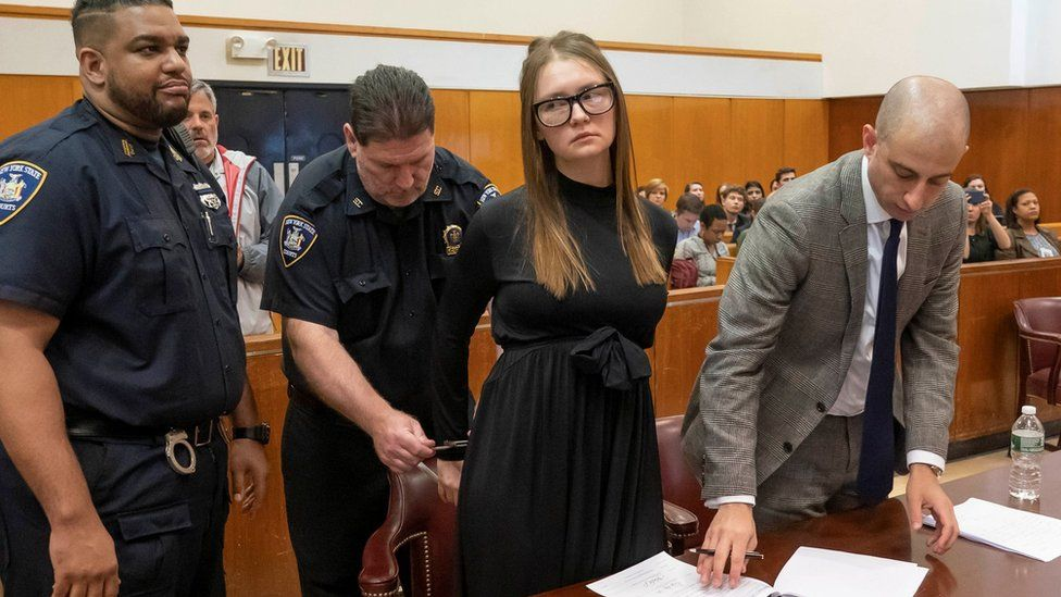 Anna Sorokin, who a New York jury convicted last month of swindling more than $200,000 from banks and people, reacts during her sentencing at Manhattan State Supreme Court New York, U.S., May 9, 2019