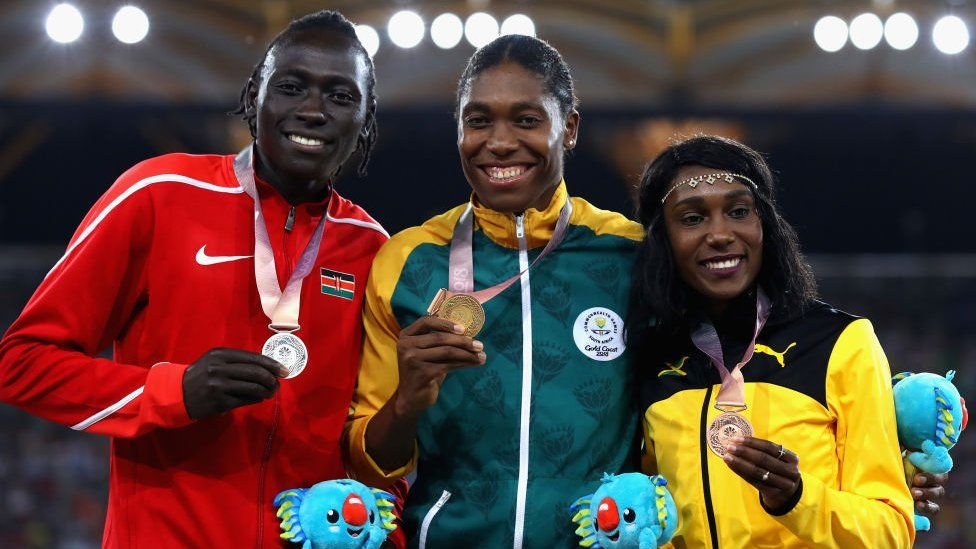 L-R) Silver medalist Margaret Nyairera Wambui of Kenya, gold medalist Caster Semenya of South Africa and bronze medalist Natoya Goule of Jamaica pose during the medal ceremony for the Women's 800 metres during athletics on day nine of the Gold Coast 2018 Commonwealth Games at Carrara Stadium