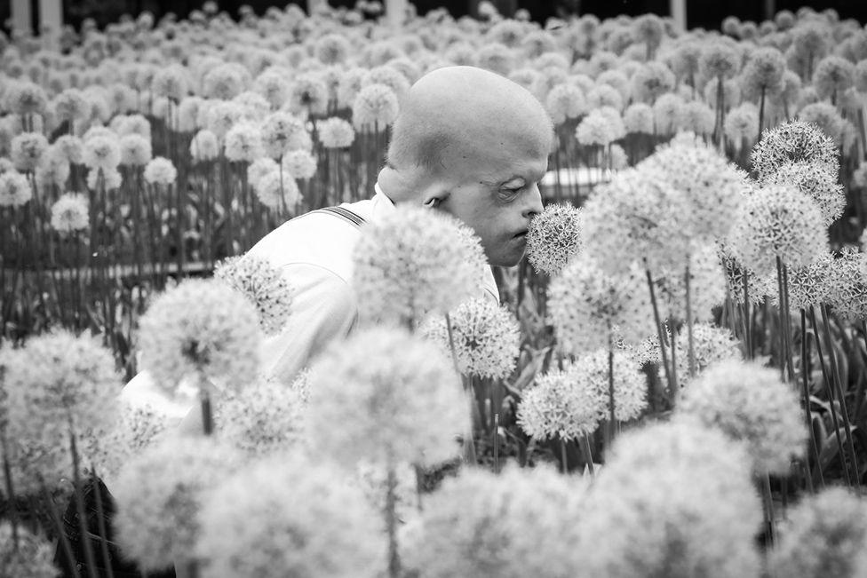 Lyosha with flowers
