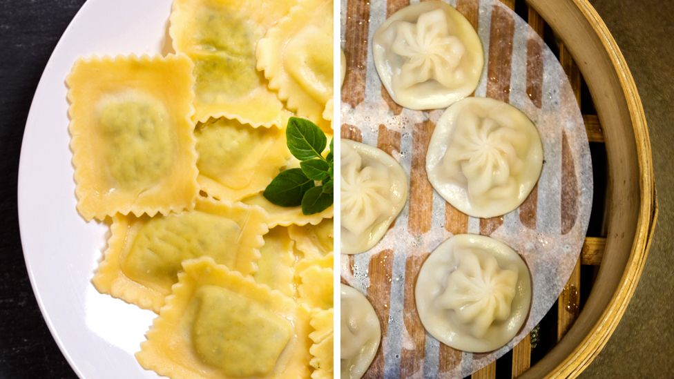 Composite image showing a plate of ravioli and a steamer of Shanghai dumplings