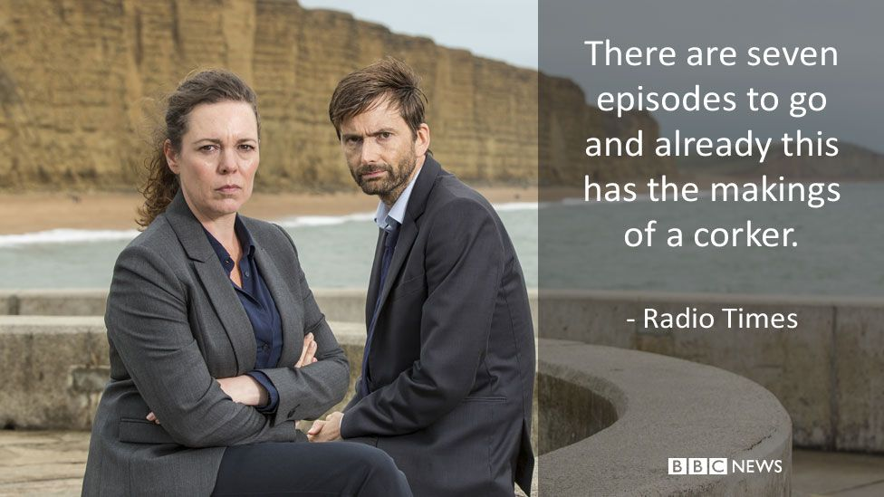 Olivia Colman and David Tennant in Broadchurch. Radio Times review: There are seven episodes to go and already this has the makings of a corker.
