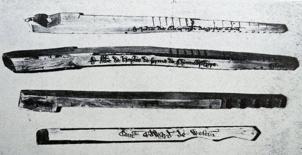 Some of the old wooden tally sticks used by the UK Exchequer until 1826