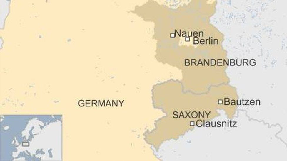 Map showing Bautzen, Clausnitz and Nauen in eastern Germany