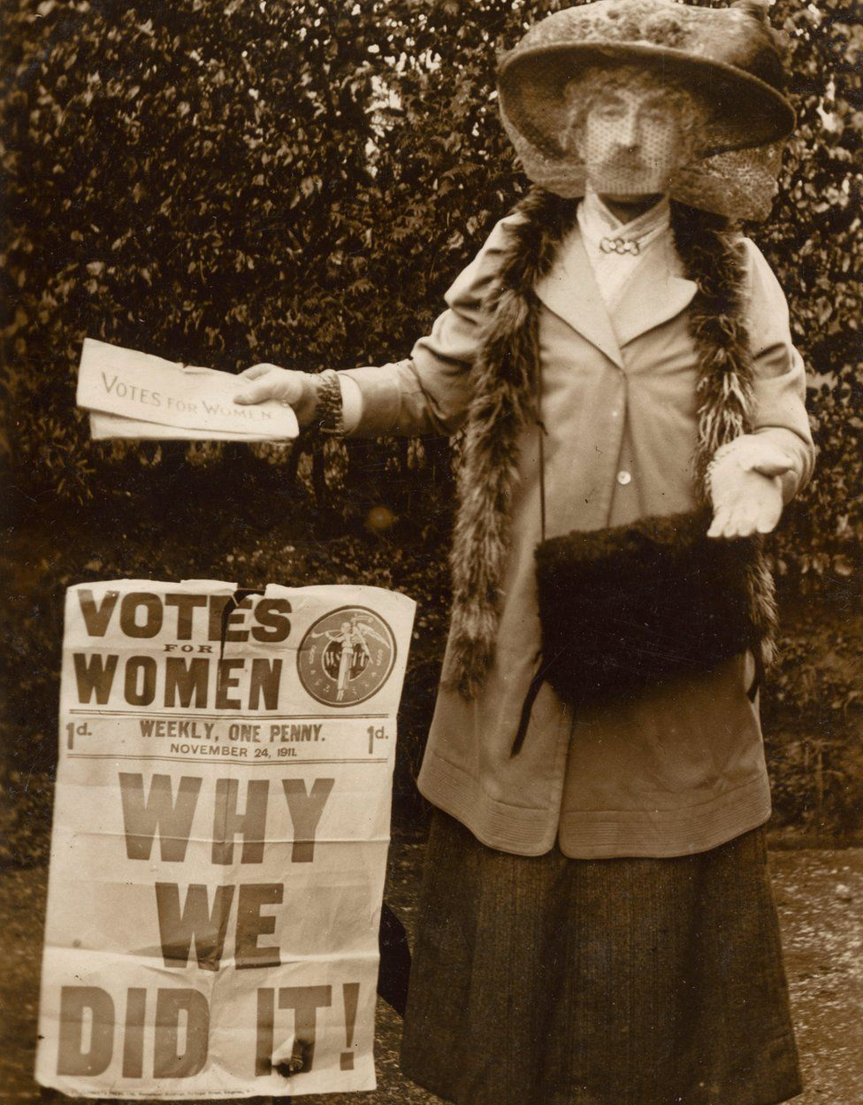 Frederick Lawrence dressed as a female suffragist