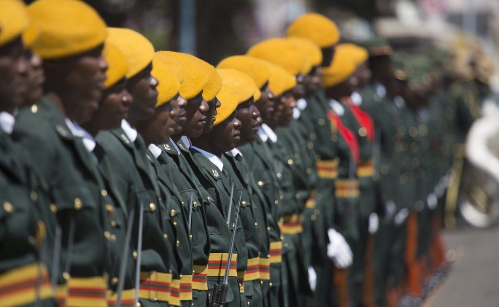 Members of the Presidential Guard stand guard outside the House of Parliament before the official opening of the Fourth Session of the Eighth Parliament of Zimbabwe in Harare, Zimbabwe, 12 September 2017. The Fifth Session will be the last before the 2018 elections of which the date is yet to be set.