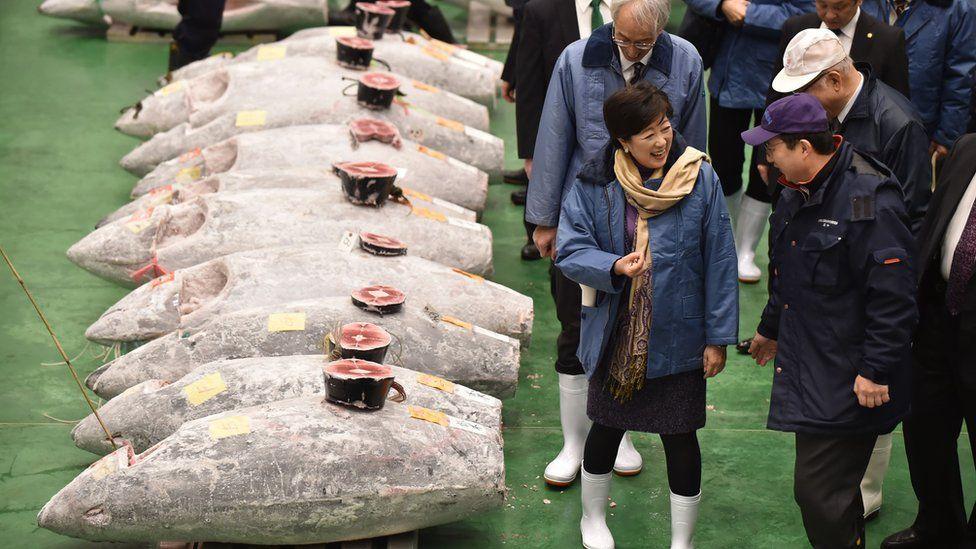 Tokyo Governor Yuriko Koike at Toyosu, 5 January 2019