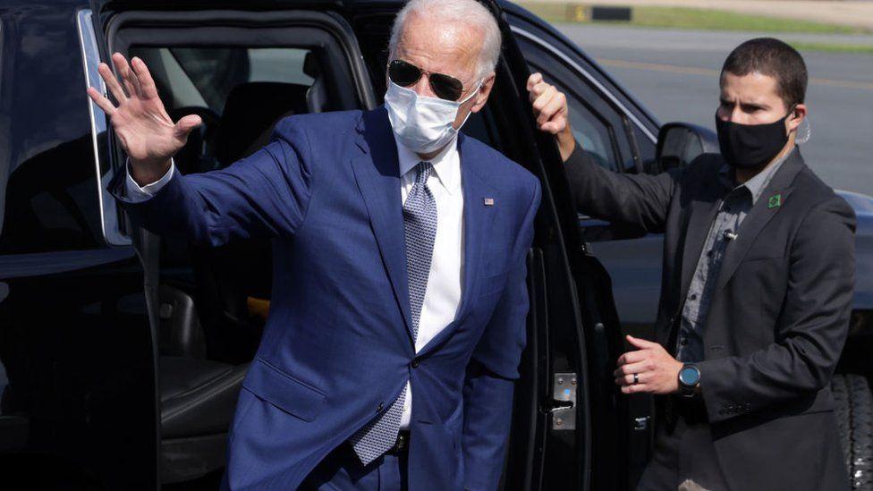Mr Biden departs Wilmington, Delaware en route to Kenosha