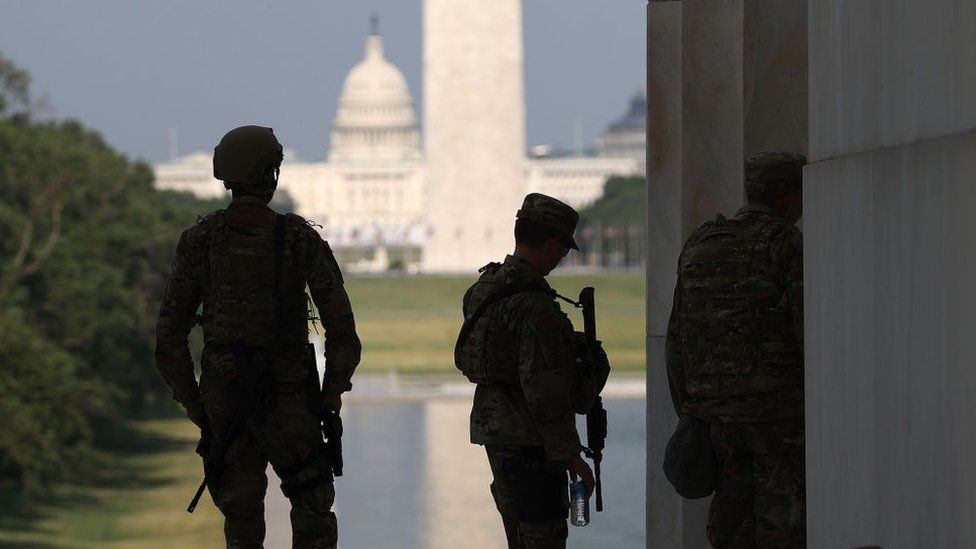 National Guard troops at the Lincoln Memorial