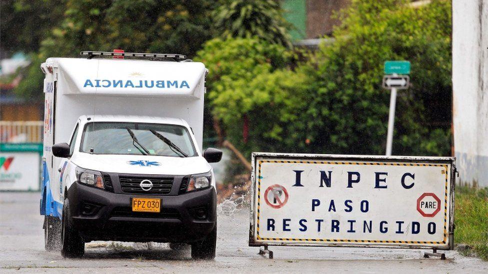 An ambulance arrives at the Villavicencio prison on 8 May
