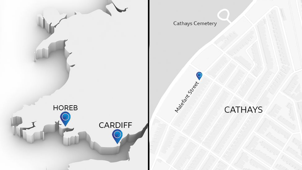 Map showing Malefant Street in Cardiff and Horeb in Carmarthenshire, the small village where Carol Ann Stephens' body was found