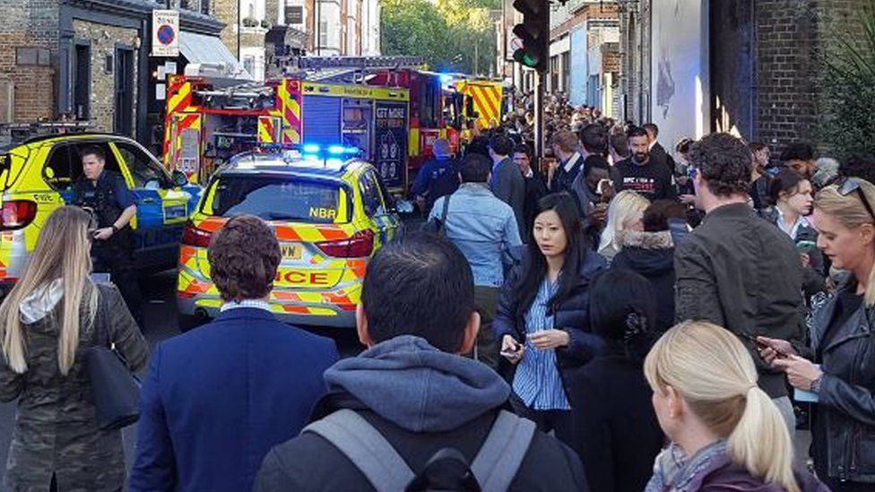 Crowds outside Parsons Green station