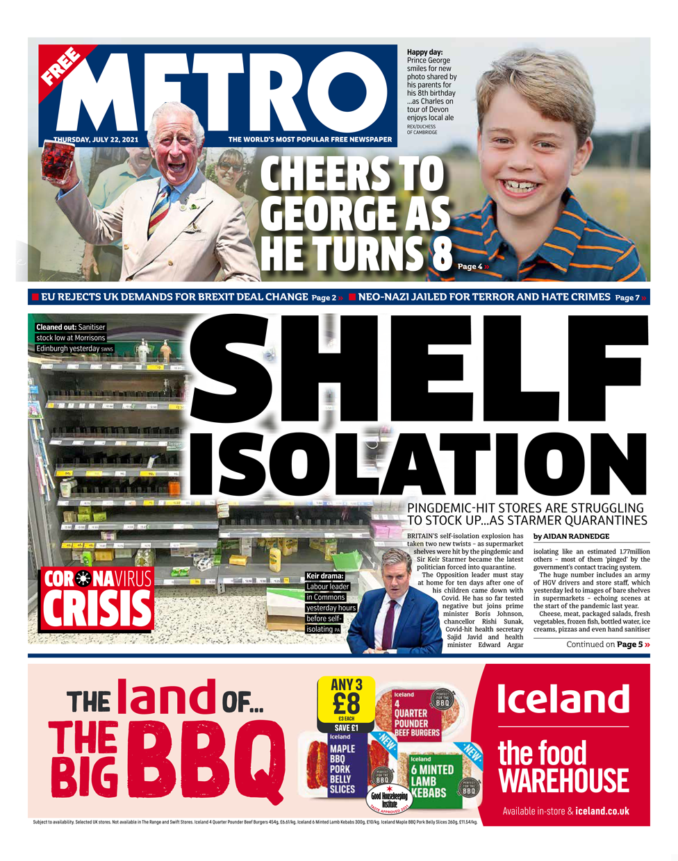 Metro front page 22/07/21