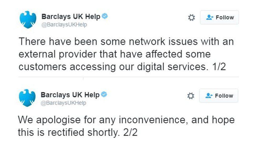 Barclays tweets
