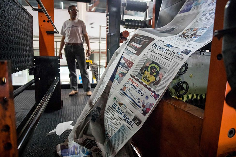 View of rotating machines, where the newspaper El Nacional is printed, in Caracas, Venezuela, 14 December 2018. The National Trade Union of Workers of the Press (SNTP) of Venezuela blamed the Head of State Nicolas Maduro for the exit of circulation after 75 years of the newspaper El Nacional, critical of the Chavez Government