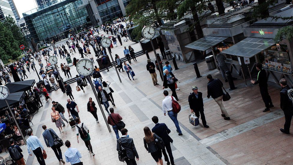 Workers in Canary Wharf, London. The capital has witnessed a jobs boom in the last decade