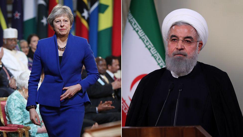 Theresa May and Hassan Rouhani