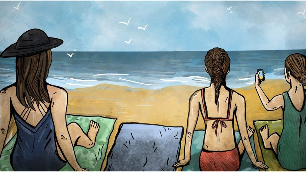 An illustration of Four Towels - there is one empty towel where Ian's family are sitting on the beach