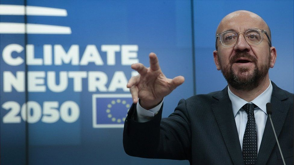 President of the European Council Charles Michel gives a press conference at the end of an European Council summit in Brussels, Belgium, 13 December 2019
