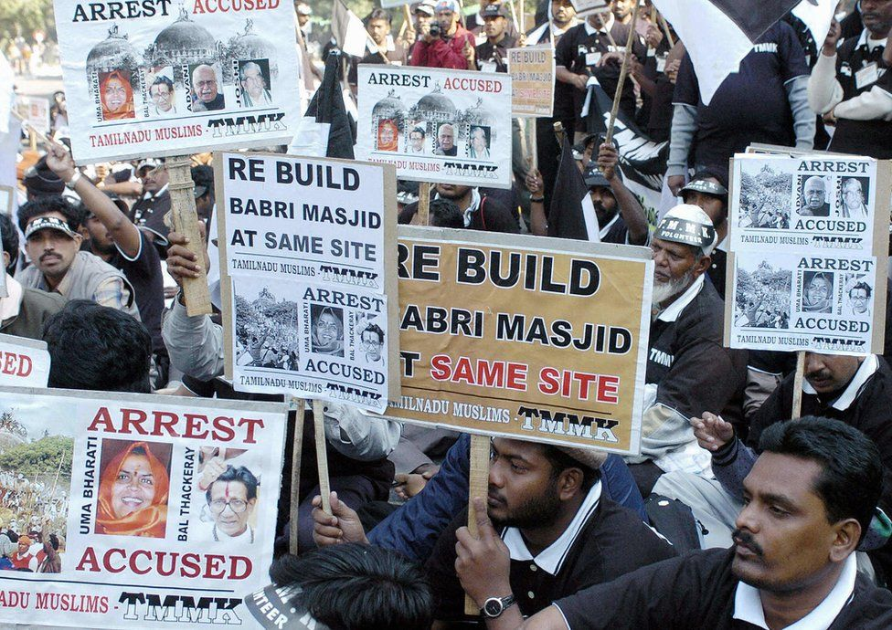 Indian Muslims at a demonstration in 2004 to mark the anniversary of the mosque's demolition.
