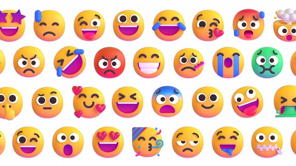 A sample of images from Microsoft's emoji redesign blog post, showing smiley faces in dozens of variations