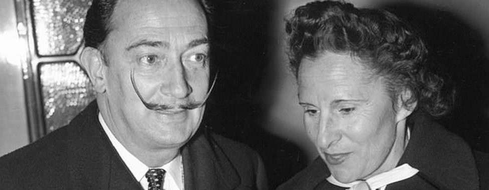 Spanish artist Salvador Dali and his wife Gala in London on 26 April 1955