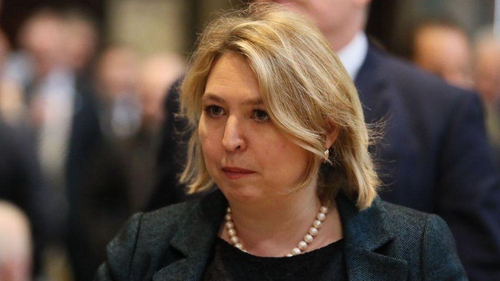 Karen Bradley, Northern Ireland Secretary of State, at the funeral of Lyra McKee.