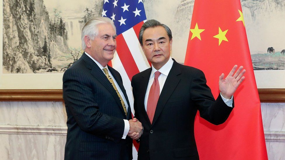 China's Foreign Minister Wang Yi (R) and US Secretary of State Rex Tillerson at the Diaoyutai State Guesthouse in Beijing, on 18 March 2017