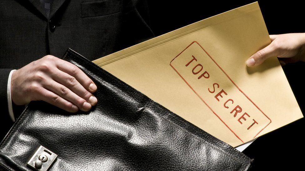 Secret folder slipped into a briefcase