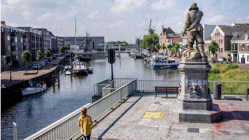 """The word """"killer"""" was daubed on Piet Hein's statue in Rotterdam last month"""