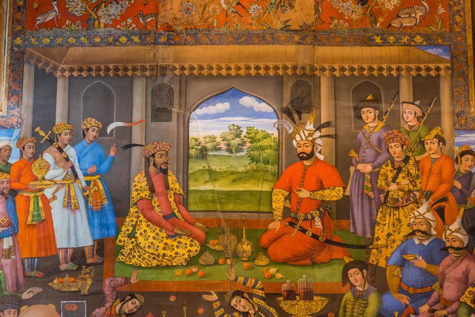 Detail of painting of Shah Tahmasp and the Mughal emperor Humayun, Chehel Sutun Palace, Isfahan, Iran