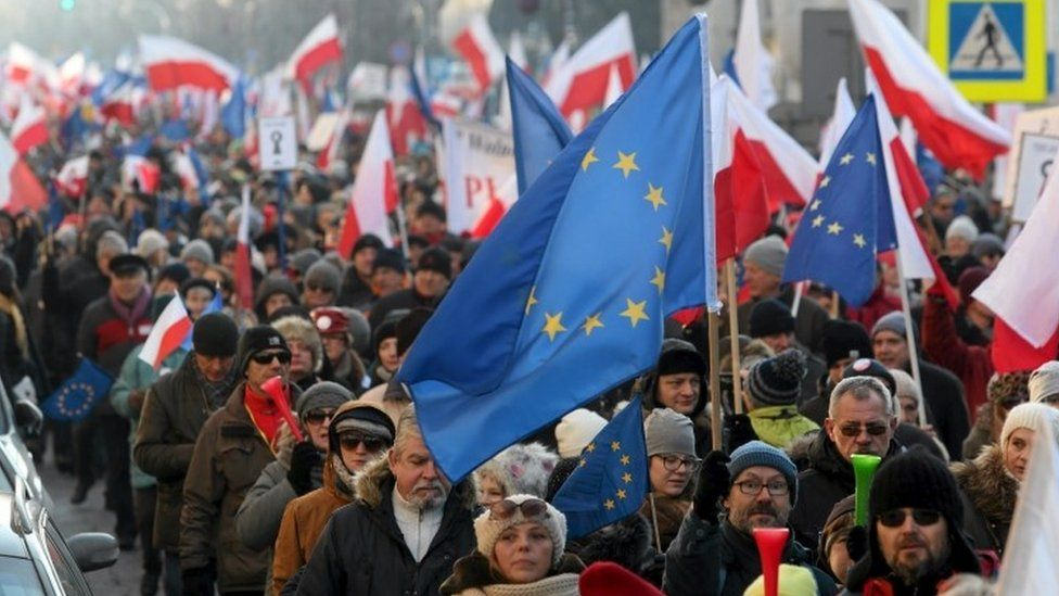 Protesters in Warsaw
