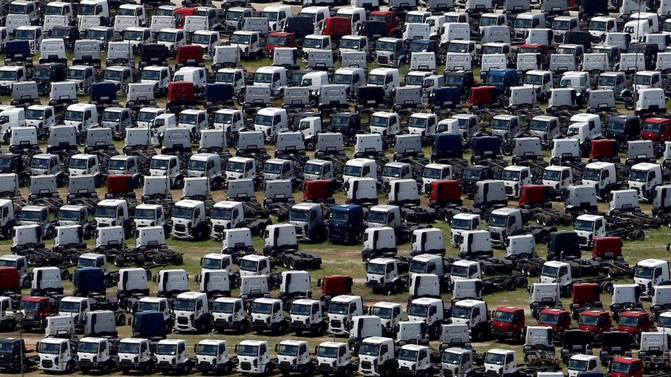 New Ford trucks are seen at a parking lot of the Ford factory in Sao Bernardo do Campo, Brazil, February 12, 2015.