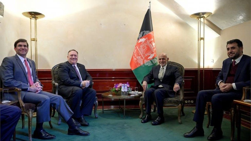 U.S. Secretary of State Mike Pompeo (2nd L) meets with Afghan President Ashraf Ghani, together with U.S. Secretary of Defense Mark Esper (L) and Acting Minister of Defense of Afghanistan Asadullah Khalid (R), during the Munich Security conference in Munich, southern Germany February 14, 2020.